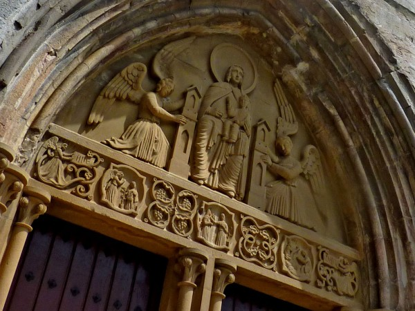 Lintel of the entrance to the church in Roncevaux: despite its Christian origins many walkers on the Camino don't have a religious motivation