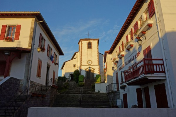 Day 1. Biriatou, the first stop. Red shutters are typical of the Basque country.