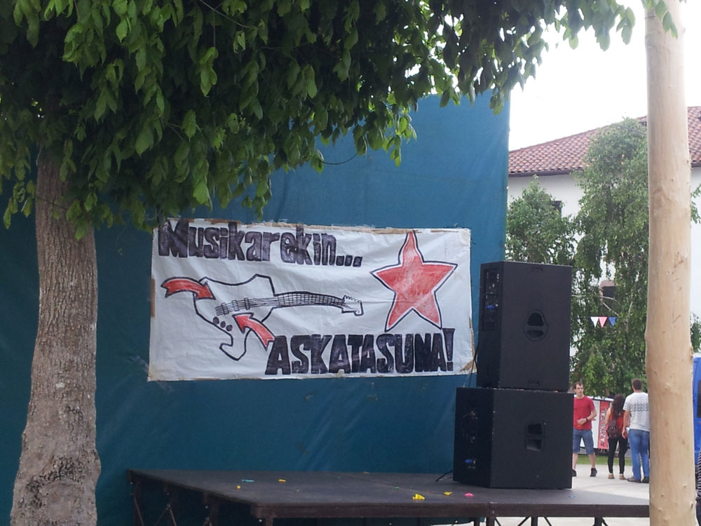 Day 4. Arizkun. The stage in the village square erected for the Fuegos de San Juan (23 June).