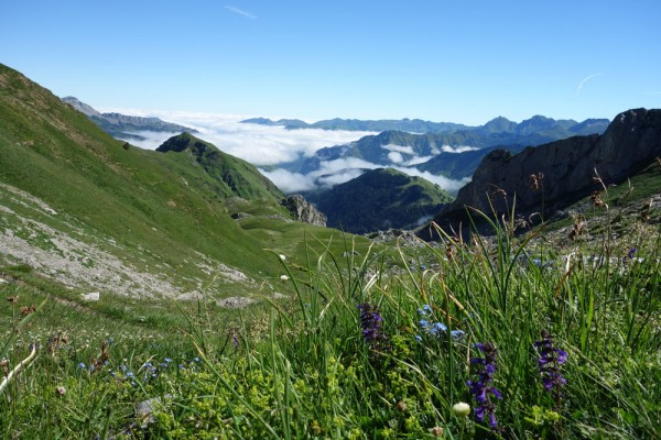 Day 12. Looking back down the Labrénère valley on the way to the Col (Pass) de Pau (1946m).