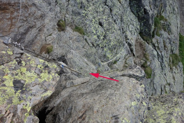Day 39. The climb to the Col des Picots has a handy cable. But one of the stones to which the cable was attached has fallen into the void, now suspended only by the cable (arrow)!