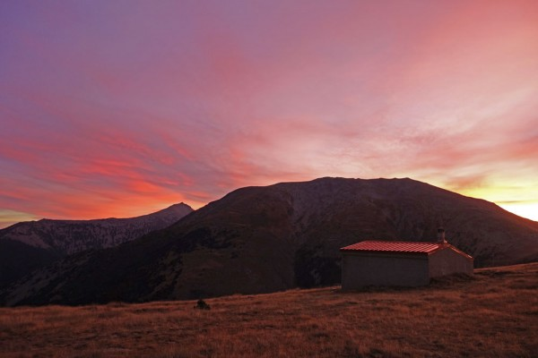 Day 50. Pla Guilhem hut at sunrise.