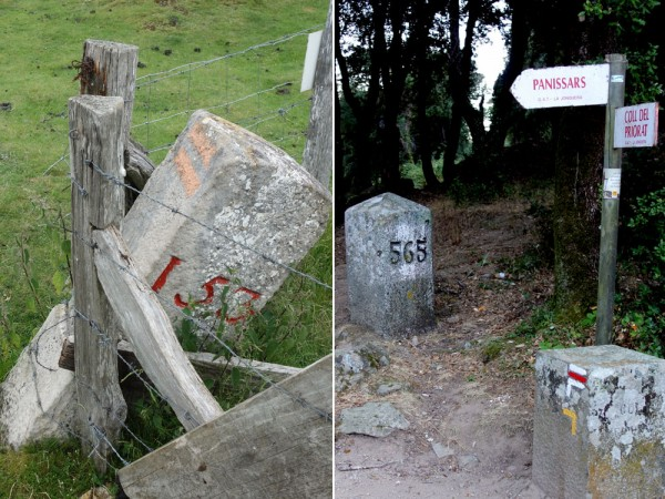 Markers on the French-Spanish border. No 153 is near St-Jean-Pied-de-Port, six day's walking from the Atlantic; no 565 is near Panissars, two day's walking from the Mediterranean. There are 602 in all, plus a few subsidiary ones.