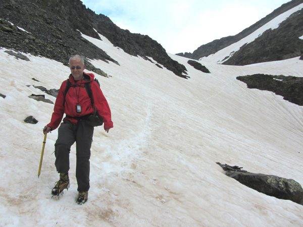 2 July 2014, on the GR11 above the Estanys Forcats between Baiau and Arinsal, with crampons and ice axe